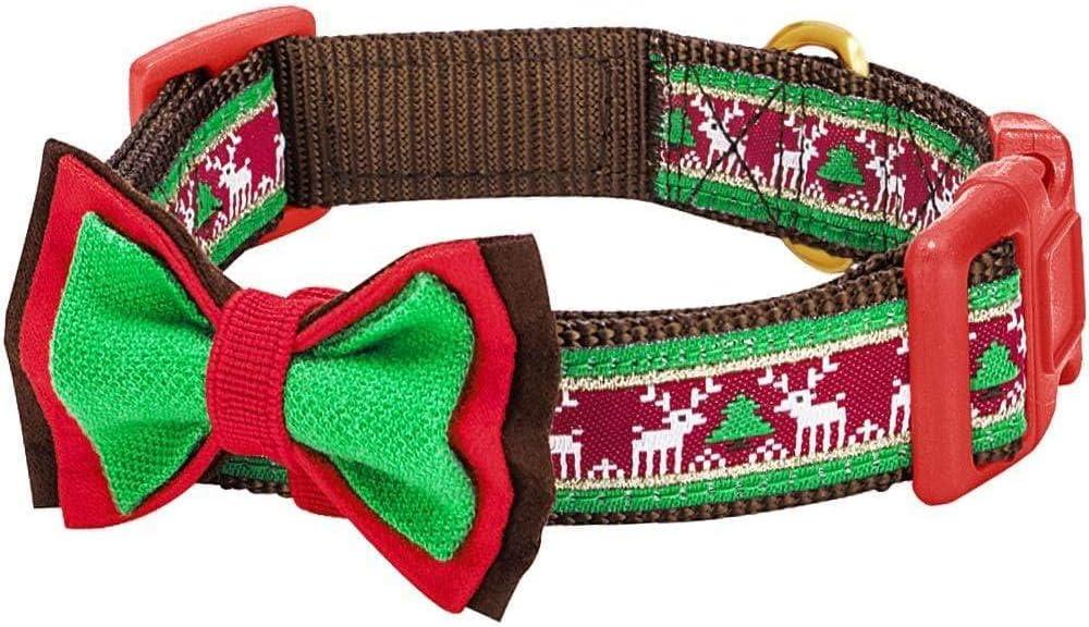 22 inch shabby-chic Christmas dog collar merry