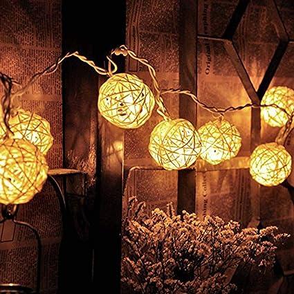 new concept 71d2c 5883d Amazon.com: Handfly Rattan Ball Fairy String Lights Hollow ...