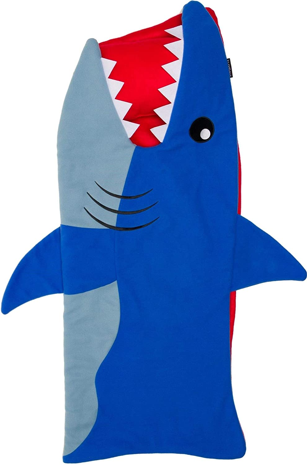 Shark Toddler Nap Mat - 50 in. x 20 in. All-in-One Kids Animal Shaped Sleeping Bag with Attached Blanket and Pillow, Rollup Design, Perfect for Kindergarten, Daycare, Sleepovers by Silver Lilly