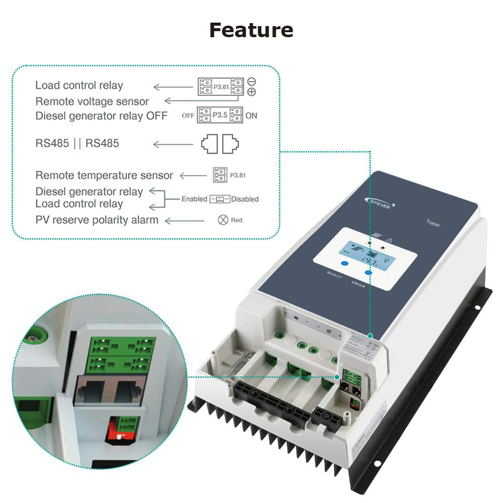 Open Circuit Voltage up to 150V for Sealed Flooded and User Tracer 10415AN EPEVER 100A MPPT Solar Charge Controller 12V//24V//36V//48V with LCD Display GEL