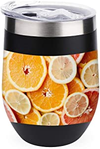 Travel Tumbler Cup For Coffee, Wine, Cocktails, Ice Cream Lid For Outdoor Camping Mug Wine Orange Natural Foods Peach 12oz Wine Tumbler Cup With Lid
