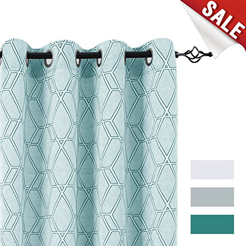 Opaque Panels - jinchan Jacquard Curtains for Bedroom Lattice Window Treatment Set for Living Room Turquoise 84