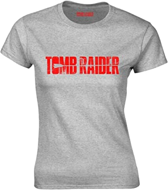 Grey Womens Fitted T-Shirt NEW /& OFFICIAL! Tomb Raider /'Logo/'