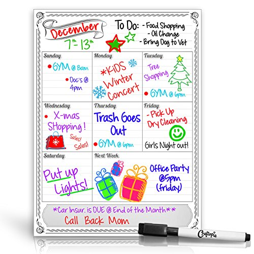 Smart Planners Weekly Magnetic Refrigerator Calendar Dry Erase Board Weekly Planner Calendar For Kitchen Fridge With Free Dry Erase Marker Included White 11 75Hx16w