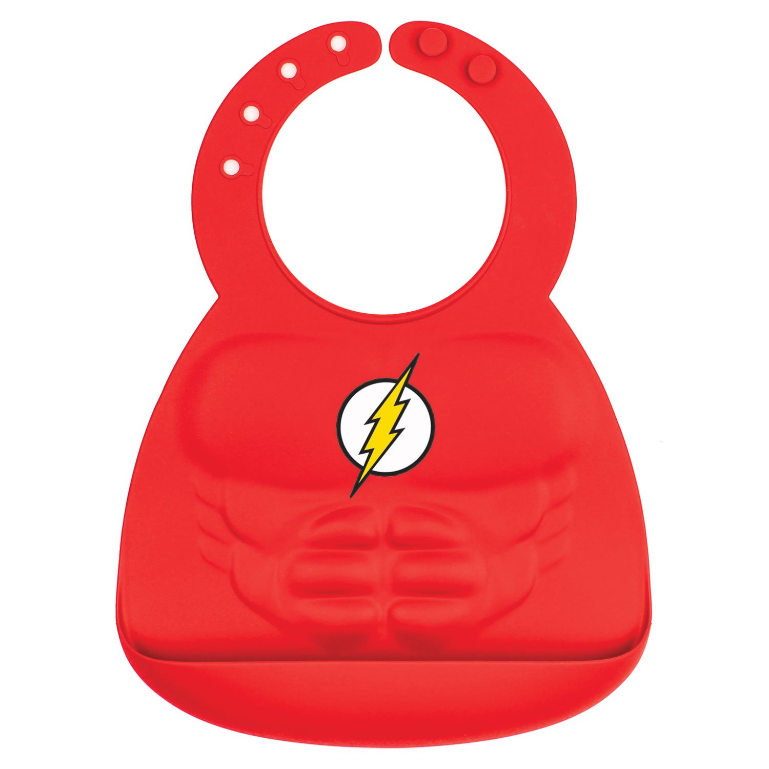 Bumkins DC Comics The Flash Silicone Bib, Baby Bib, Toddler Bib, Comfortable, Waterproof, Wipe Clean, Stain and Odor Resistant, 6-24 Months