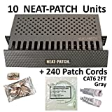 Neat Patch Cable Manager (10 Units) w/ 240 CAT6 Patch Cables (2FT Gray)