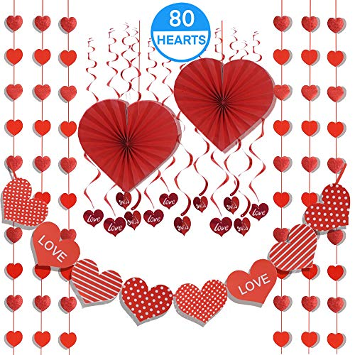 "21pc Valentines Day Decoration Set - 2020 NEW Hearts Banner, 2 Heart Fans 14"", 6 String Curtain Garlands, 12 LOVE Swirls - For Prom Dance Classroom Wedding Anniversary Birthday Party Supplies"