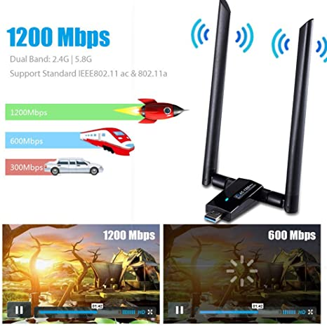 1200Mbps WiFi Adapter Dongle,Huifen USB 3.0 Wireless Network Adapter WiFi Receiver /& Transmitter Dual Band 2.4GHz//300Mbps+5GHz//866Mbps 802.11AC for PC//Desktop//Laptop//Tablet Black