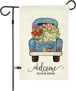 GOAUS Floral Welcome to Our Home Little Blue Truck Flower Spring Summer Garden Flag,Double Sided Burlap Decorative House Flags for Home Lawn Yard Indoor Outdoor Decor,12 x 18 Inch
