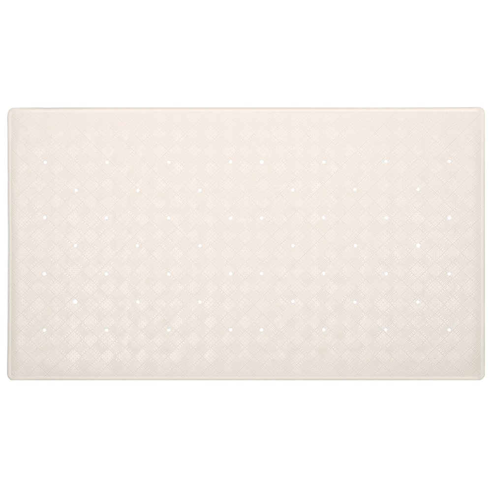 H&S Rubber Bath Shower Mat Non Slip Anti Mould Antibacterial Anti Fungal Suction Grip Large Long Ivory H and S Alliance UK Ltd