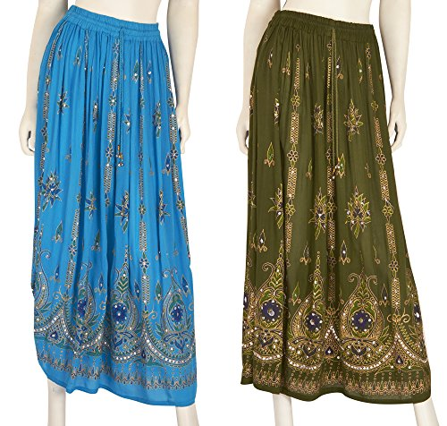 JOTW 2 Pack of Indian Long Skirts with Sequins & Embroidered Designs (IND#9603) (Turquoise and Green)