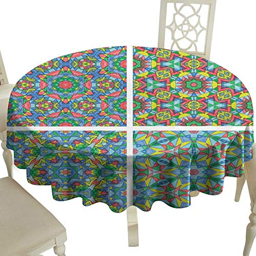 WinfreyDecor Polyester Tablecloth Set of Abstract Mosaic Colorful Seamless Wallpaper Texture backg Indoor Outdoor Camping Picnic D55]()