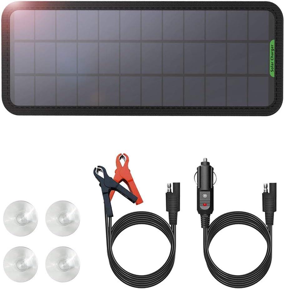 GIARIDE Cargador Solar Sunpower Panel Módulo Solar de 12V Baterías Cargador de Coche Portátil Fotovoltaico para Coches, Caravana, Moto, Bote, Barco (7.5W)