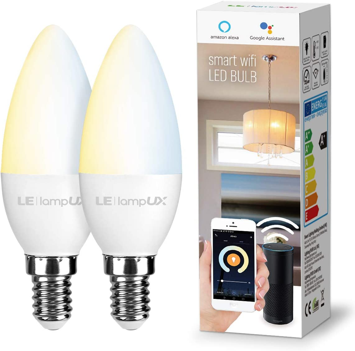 LE LampUX Smart LED Light Bulb, E12 Candelabra Light Bulbs, Works with Alexa Google Home, Tunable White 2700K-6500K, Dimmable with App, No Hub Required, 40 Watt Equivalent, 2.4GHz WiFi, Pack of 2