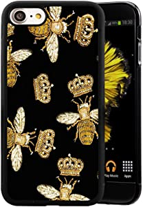 Queen Bee iPhone 7 Plus 8 Plus Phone Case, Shockproof Soft TPU Premium PC Protective Customized Design Bumper for iPhone 7 Plus 8 Plus-Black