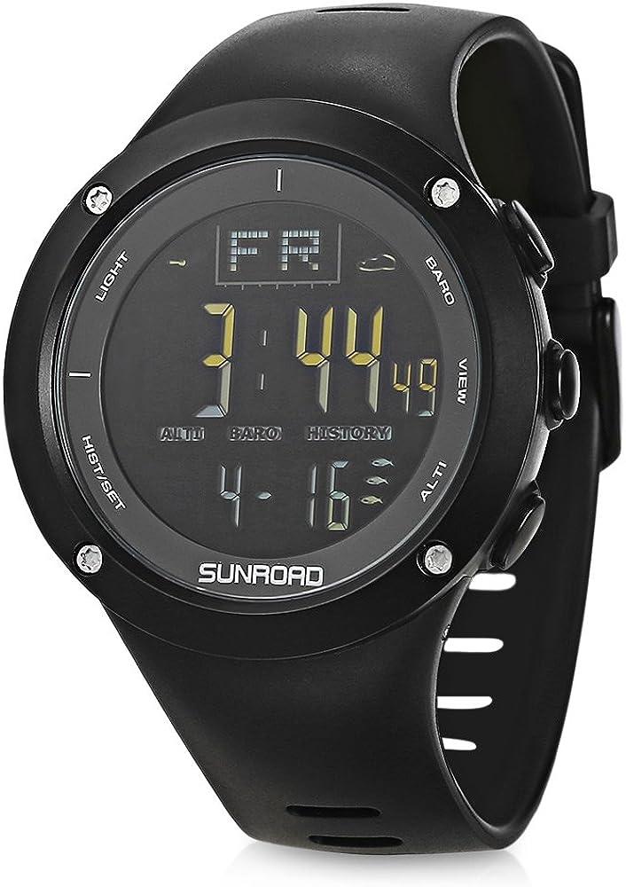 SUNROAD 釣りウォッチ メンズデジタル腕時計 高度計 気圧計 温度計 天気予報 コンパス ワールドタイム アラーム バックライト コンパス クロノグラフ 日の出/日没時間 カウントダウン 日付/曜日表示 ブラック