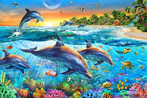 - 21secret 5D Diamond Diy Painting Full Round Drill Handmade Colorful Undersea World Dolphins Coconut Tree Cross Stitch Home Decor Embroidery Kit