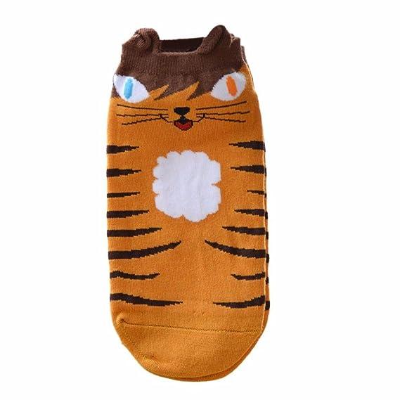 Covermason Mujer Lindo Gato Mantener caliente Calcetines cortos (Amarillo)
