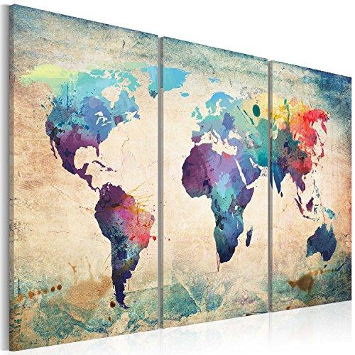 Bilder 120x80 cm - XXL Format - Fertig Aufgespannt - TOP - Vlies Leinwand - 3 Teilig - Wand Bild - Kunstdruck - Wandbild - Weltkarte 020113-47 120x80 cm