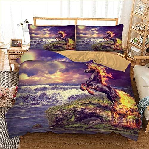 PXN Lion Horse Tiger Pattern Reactive Printing Housse de Couette Set with Luxury Pillow Cases Bedding Set New 3pcs, Color, Twin 173x218cm