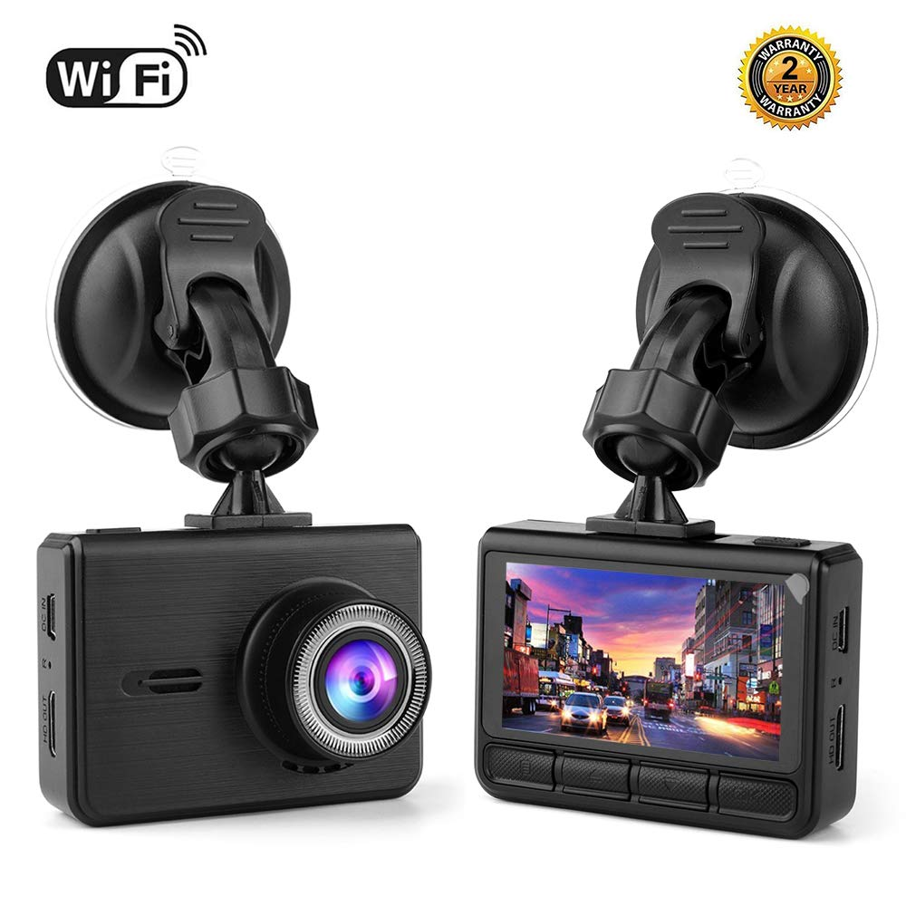 Full HD WiFi Car Dash Cam, Kesbin 1080P Dashboard Car Recorder Front 2.45' IPS Screen 170° Wide Angle with Super Night Vision, Sony Sensor, Built-in WiFi, GPS, G-Sensor, WDR, Loop Recording, Motion Detection