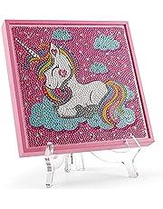 Xvroz Unicorn 5D Diamond Painting for Kids,Unicorn Diamond Arts and Crafts Sets for Boys & Girls,7.5''x7.5'' Pink