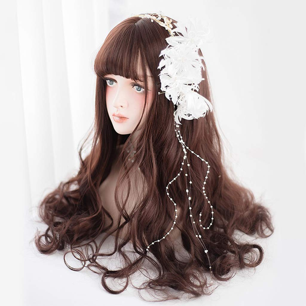 LNNA Lolita Long Curly Wavy Lace Full Wigs with Air Bangs Ombre color 100% Heat Resistant Synthetic Fiber Hair for Cosplay 26inches/65cm (color : Maroon, Edition : Nursing tools) by LNNA