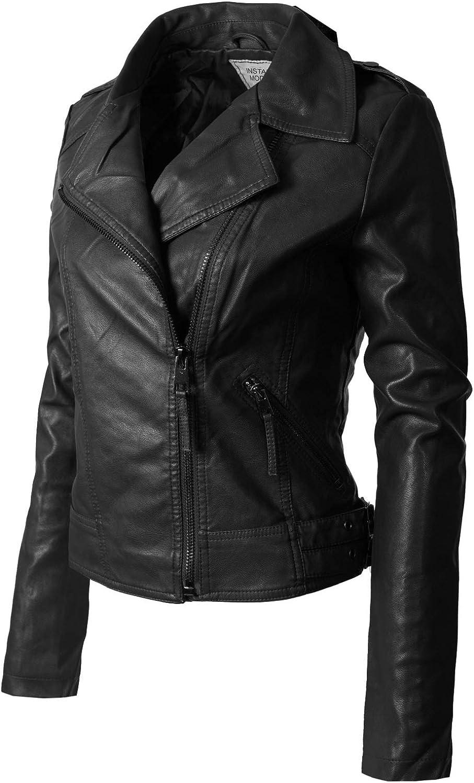 Design by Olivia Womens Long Sleeves Asymmetrical Zipper Closure Biker Faux Leather Jacket