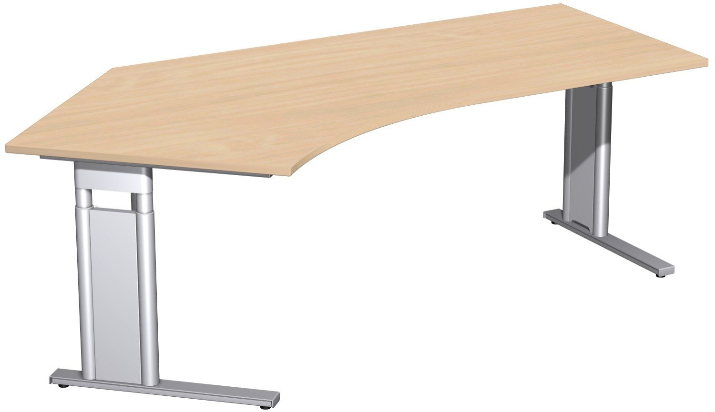 Geramöbel Schreibtisch 135° links höhenverstellbar, C Fuß Blende optional, 2166x1130x680-820, Buche/Silber