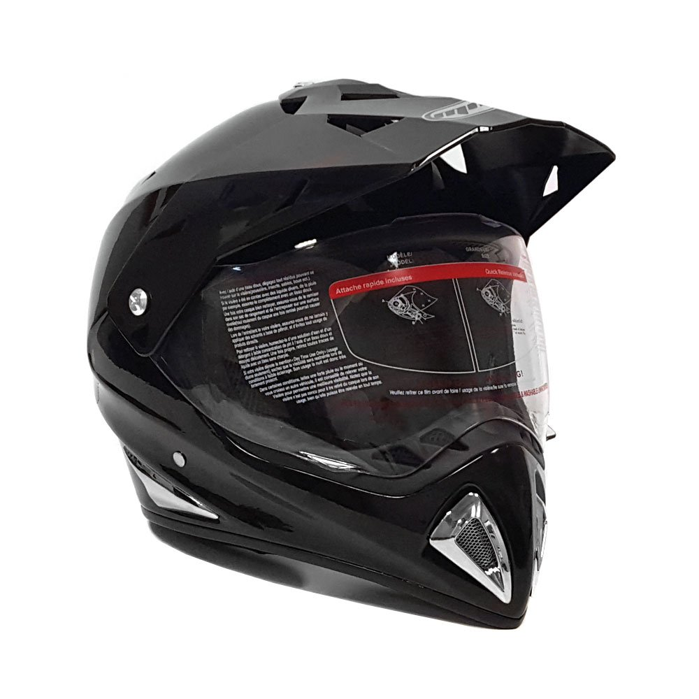 Helmet Dual Sport Off Road Motorcycle Dirt Bike ATV - FlipUp Visor - 27V Shiny Black (XX-Large)