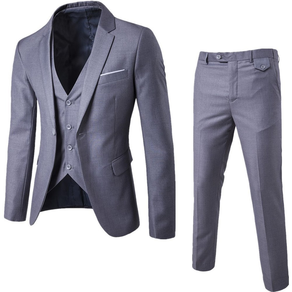 NiuZi Men's Fashion Casual Slim Fit Suit 3-Piece Business Jacket Vest &Pants (US M / Tag XL, Light grey)