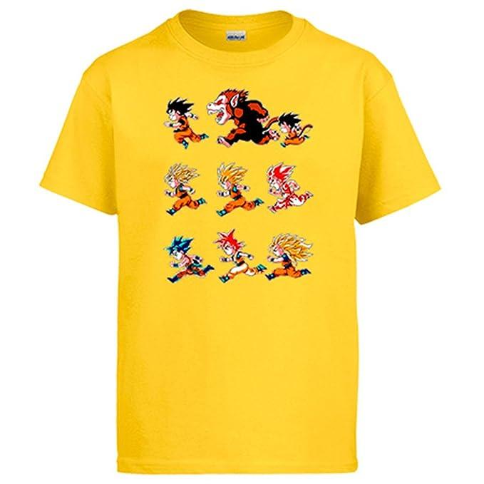 Diver Camisetas Camiseta Dragon Ball Son Goku transformaciones: Amazon.es: Ropa y accesorios