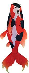 "In the Breeze 5117 Realistic Fish Windsock-Hanging Outdoor Decoration, 48 Inches, 48"" Red Koi"