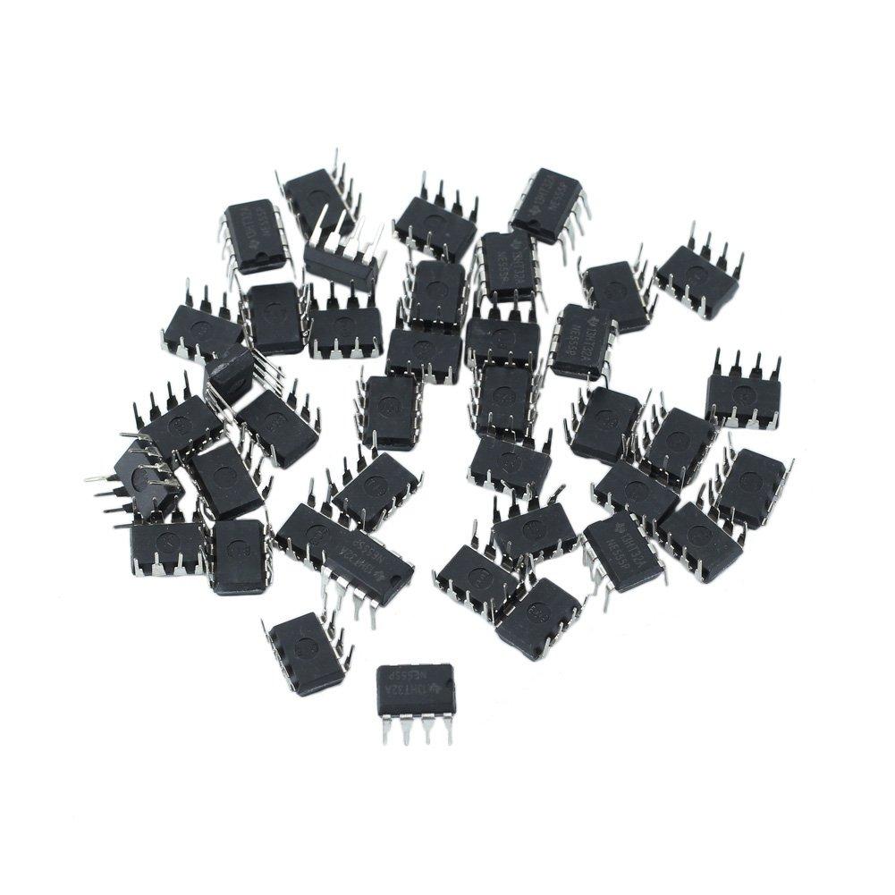 40 Pcs Plastic Metal NE555P 555 DIP-8 IC Timers Kit Electrical 9*5*7mm styleinside-uk