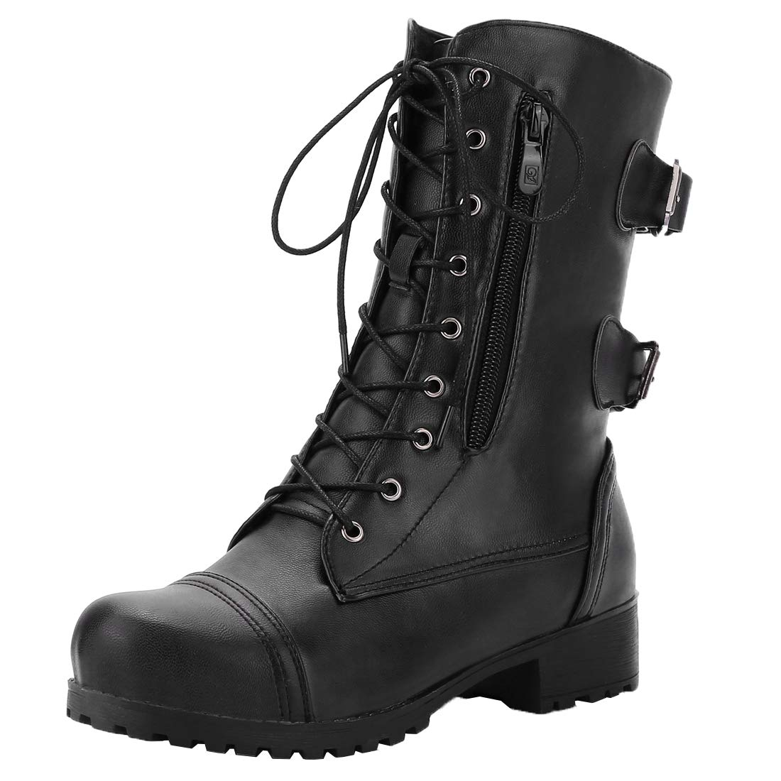 Vitalo Womens Lace Up Mid Calf Military Buckle Combat Biker Boots Credit Card Boots Size 10 B(M) US,Black by Vitalo