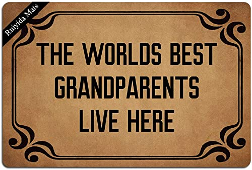 Ruiyida The Worlds Best Grandparents Live Here Entrance Floor Mat Funny Doormat Door Mat Decorative Indoor Outdoor Doormat Non-woven 23.6 By 15.7 Inch Machine Washable Fabric Top