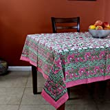India Arts Handmade Hand Block Print 100% Cotton Eternal Floral Vine Tablecloth 60x60 (Pink Green)
