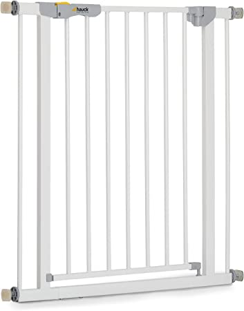 Hauck Autoclose N Stop - Puerta de seguridad para escaleras y puertas, magnética, cierre automático, indicador visual, 75-80 cm, sin taladrar, hierro, blanco: Amazon.es: Bebé