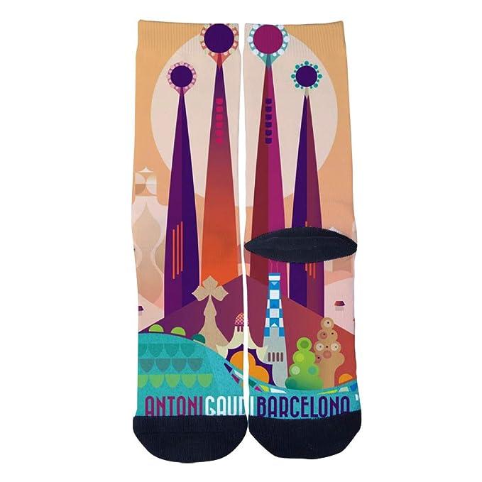 TheFun-Z Custom BARCELONA ANTONI GAUDI Poster Socks Novelty
