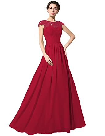 Sarahbridal Long Lace Prom Dresses Elegant Capped Sleeve Evening Party Dress for Women SSD213 Burgundy Size