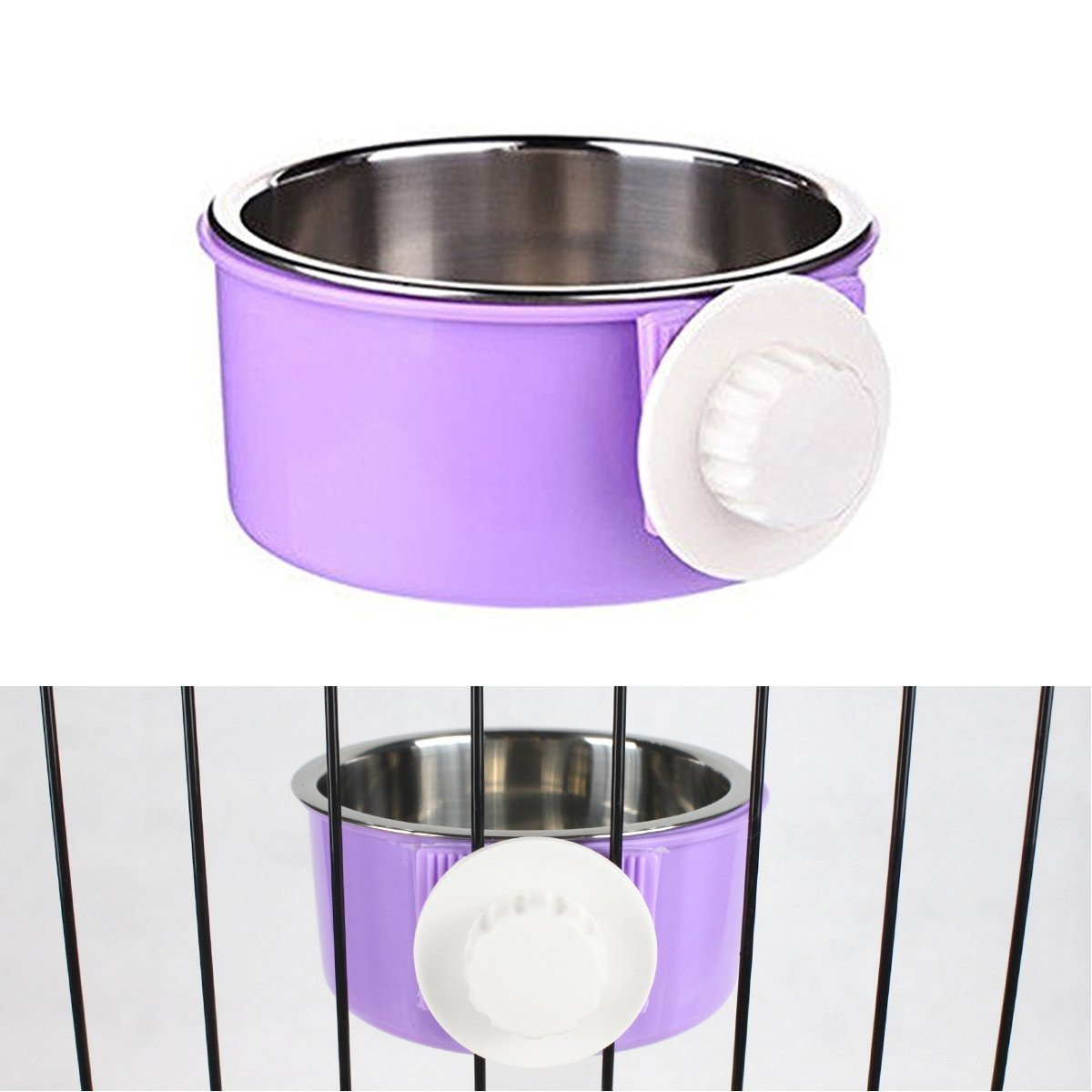 PETLESO Water Bowl for Dog Crate - Crate Water and Feed Bowl for Pet Dog Cat Bird - Purple