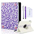 Eco-Fused Rotating Leather Case Bundle with Rhinestones for iPad Mini 3, 2 ,1 (not compatible with iPad Mini 4) - including 2 Stylus Pens / 2 Screen Protectors / Microfiber Cleaning Cloth - Sparkling Detail, A Perfect Case for Girls from Eco-Fused