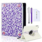 """*BLING* 360 Rotating iPad Mini White Leather Case Cover with Sparkling Crystals Rhinestone/ Two High Quality Stylus / Two High Grade Screen Protector / One Stylus - ECO-FUSED® Microfiber Cleaning Cloth 5.5x3.0"""" included (Purple Rhinestone)"""