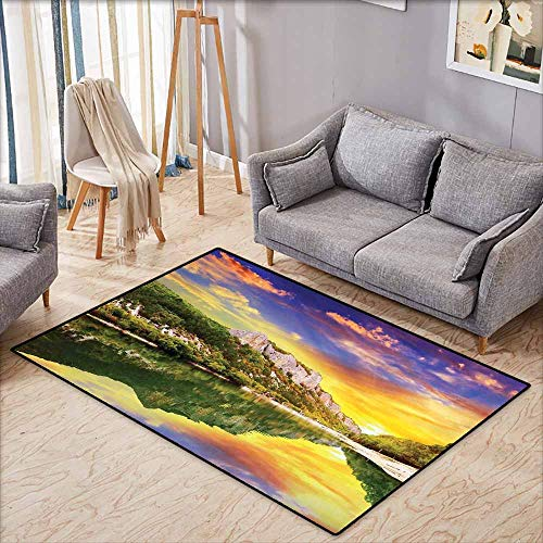 (Collection Area Rug,Landscape Sunset Over The Lake Mountain and Forest in a Partly Cloudy Day,Anti-Static, Water-Repellent Rugs,4'7