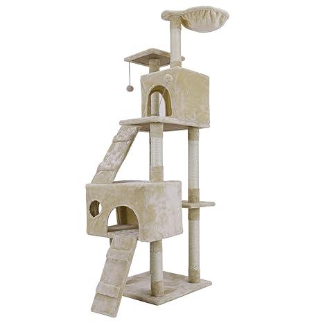 Rascador de pared para gatos con diseño de árbol y varios niveles, postes de sisal