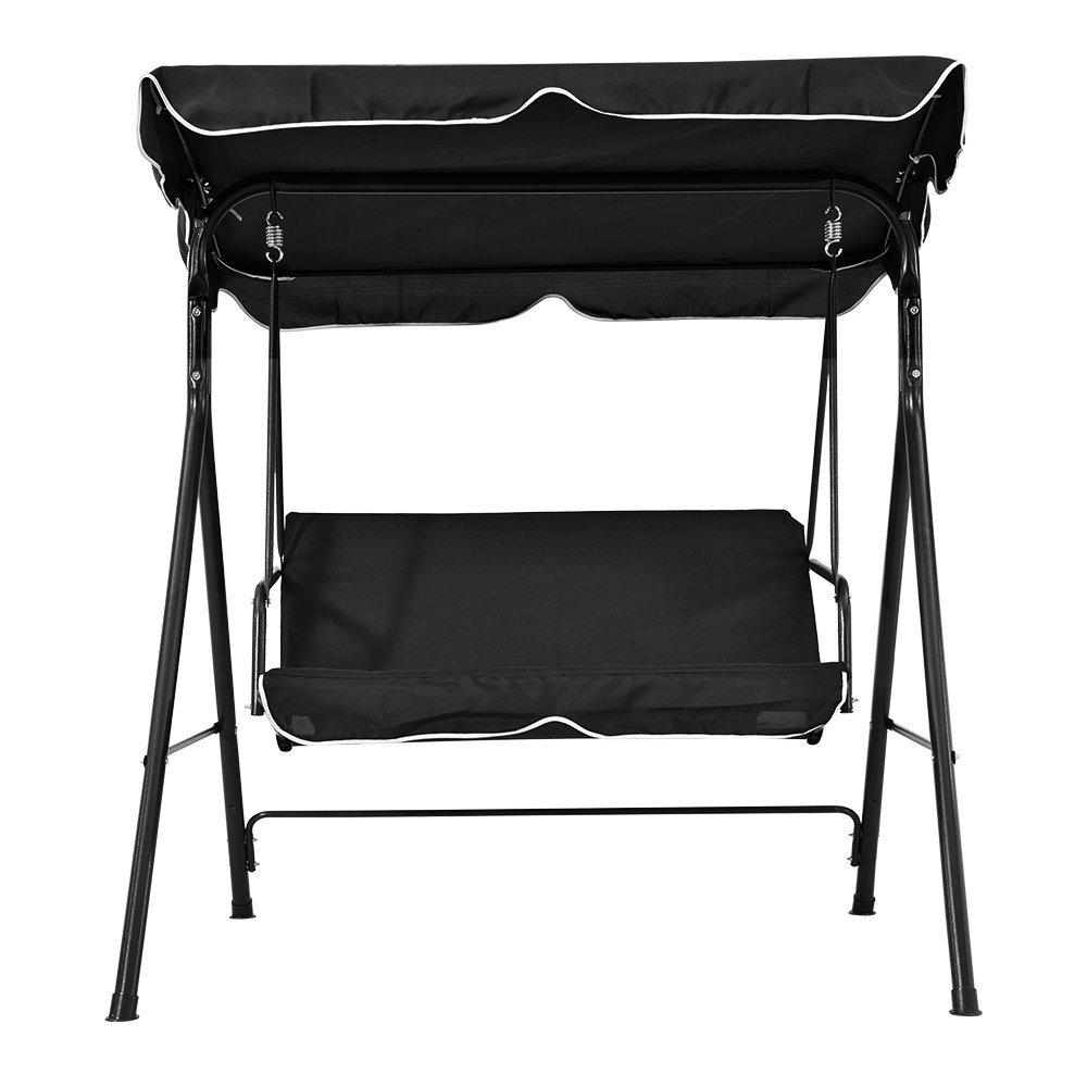 elevenfurniture Garden Patio Metal Swing Chair Seat 2 Seater Hammock Bench Swinging (Black)