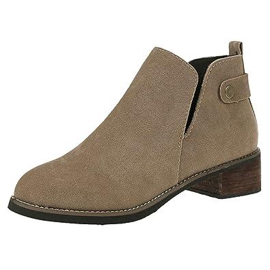 bc3b2efe364334 LIUYL Damen Damen Chelsea Stiefeletten Low Block Heel Faux Wildleder Booties  Abend Casual Office Boot Schuhe
