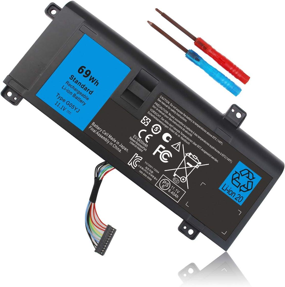 11.1V 69Wh G05YJ Y3PN0 8X70T 0G05YJ Laptop Battery Compatible with Dell Alienware 14 A14 M14X R3 R4 P39G 14D-1528 ALW14D-1728 ALW14D-4728 ALW14D-4828 ALW14D-5528 ALW14D-5828 ALW14D-5728 ALW14D-2728
