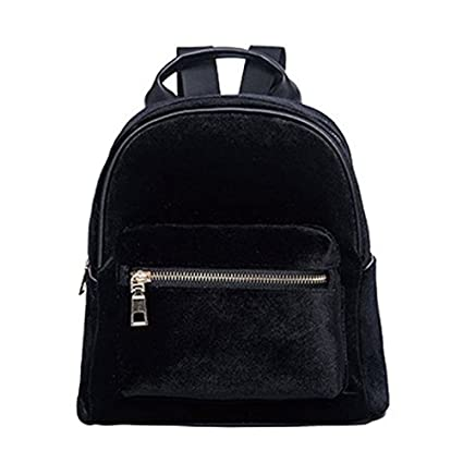7c0b661346 Donalworld Girl Velvet Backpack Cute Casual Zipper Solid Bags S Black
