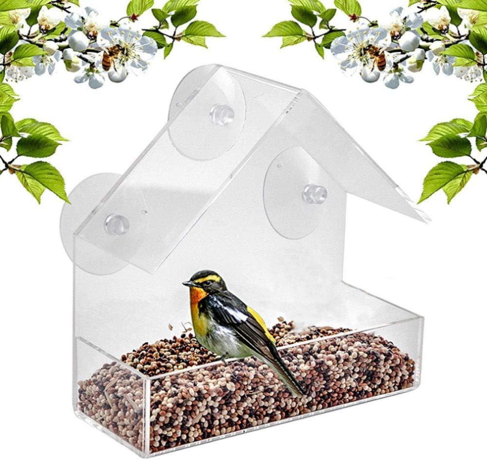 Casita para pájaros con ventana ancha, asa para agua transparente, casita para pájaros transparente, casitas para pájaros para ventanas, casetas para pájaros de acrílico
